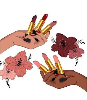 Schizzo delle mani che tengono i rossetti di diversi colori
