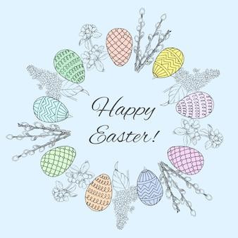 Schizzo felice pasqua modello corona rotonda con uova decorate salice ciliegia e rami lilla Vettore Premium