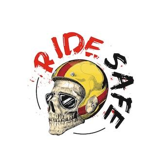 Schizzo di un motociclista hipster che indossa un casco per una guida sicura