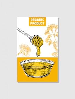 Schizzo di miele poster. illustrazioni disegnate a mano in stile vintage. modello di carta. sfondo retrò.