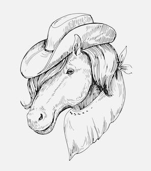 Schizzo di una testa di cavallo. illustrazione disegnata a mano isolato su bianco