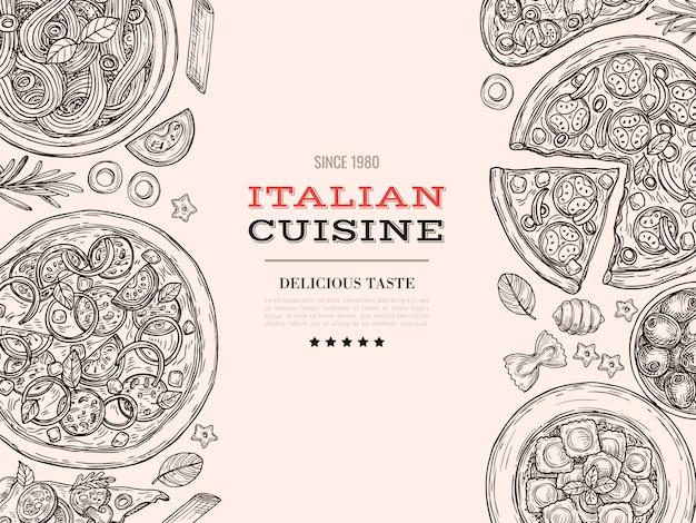 Schizzo della cucina italiana. cibo vista dall'alto, formaggio pizza pasta trafilata. manifesto del menu della cucina del ristorante dell'annata, priorità bassa di vettore del pasto di spaghetti. menu illustrazione pizza e spaghetti, ristorante tradizionale
