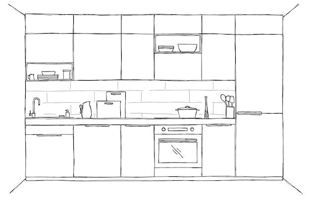 Schizzo della cucina, vista frontale. illustrazione