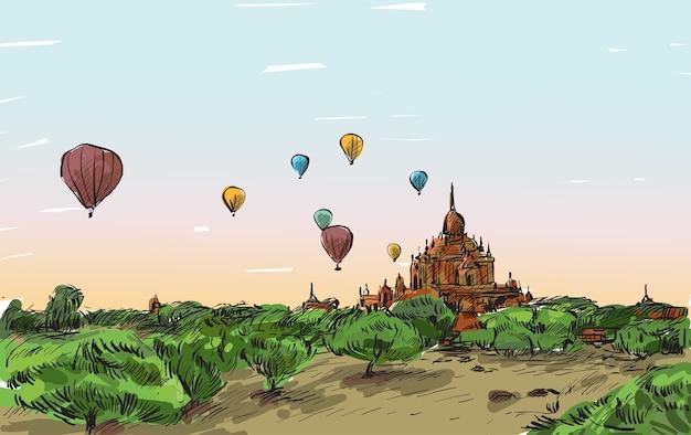 Schizzo il paesaggio di mandalay, myanmar, mostra il pallone sul cielo sopra bagan, illustrazione di tiraggio a mano libera