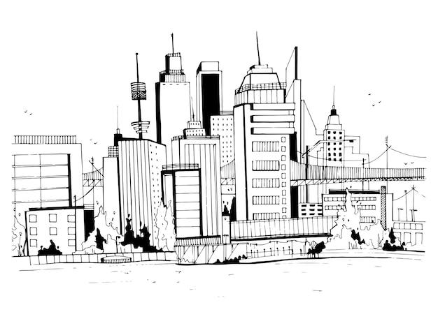 Schizzo di paesaggio con edifici, paesaggio urbano, ufficio in stile contorno.