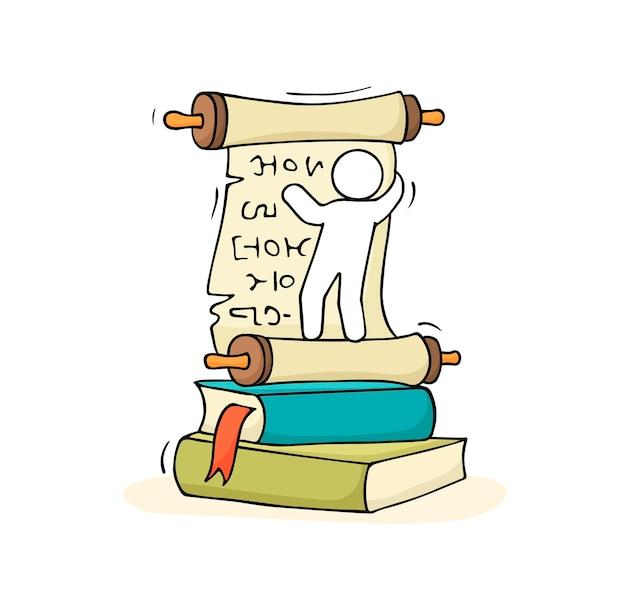 Schizzo di piccolo uomo con una pila di libri. illustrazione di vettore del fumetto disegnato a mano