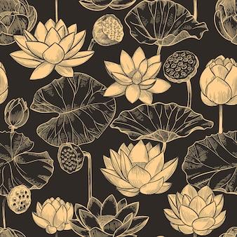 Reticolo senza giunte di loto di schizzo. composizione floreale di fiori e foglie di ninfea, loti monocromatici per prodotti, struttura di vettore di carta da parati. illustrazione floreale di loto, ripetizione della pianta del fiore