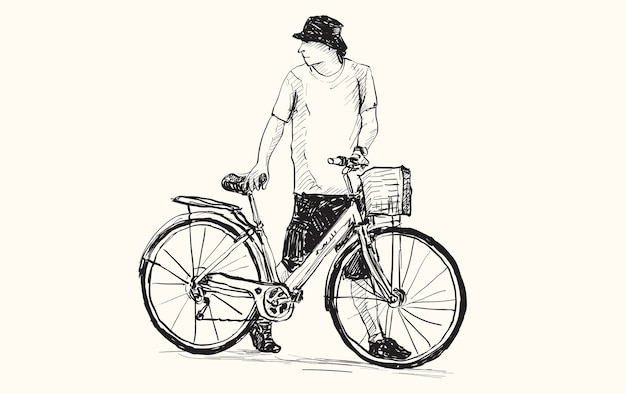 Schizzo di un uomo e di una bicicletta, disegno a mano libera e illustrazione