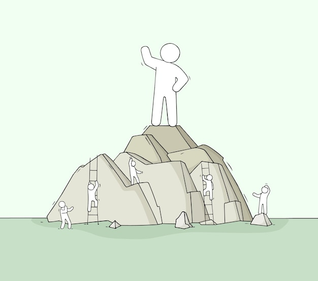 Schizzo dell'uomo sulla cima della montagna. doodle scena carina sulla leadership.