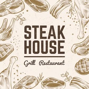Schizzo di carne sullo sfondo. menù alla griglia. contesto disegnato a mano della carne d'annata del bbq