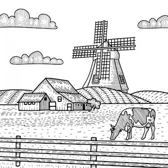 Schizzo di un mulino con mucca al pascolo sul prato. contry house nel paesaggio rurale con nuvole e recinzione. concetto disegnato a mano. illustrazione di incisione d'epoca per poster, web. isolato su sfondo bianco.