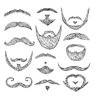 Baffi di schizzo. disegnare i peli del viso. baffi patch isolati, barba bocca retrò