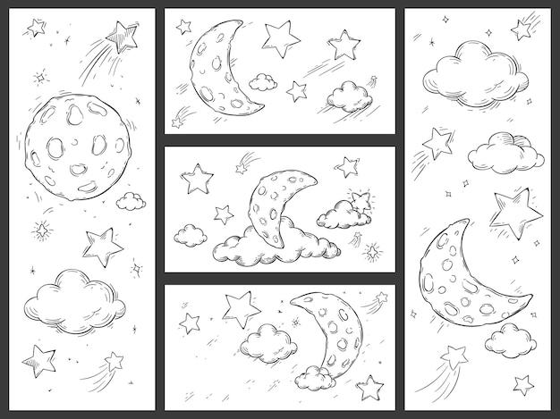 Cielo notturno di schizzo con la luna