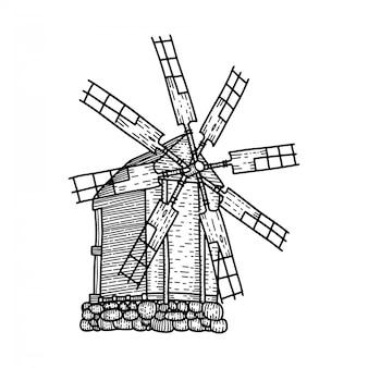 Schizzo del vecchio mulino a vento woodeb isolato. mulino a sette lame. illustrazione di schizzo disegnato a mano in stile lineare inciso.