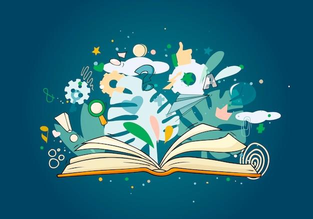 Disegna un libro aperto con molti simboli intorno.