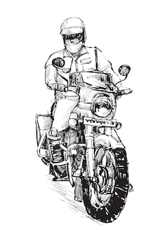 Schizzo dell'uomo della polizia sta cavalcando il tiraggio della mano della motocicletta