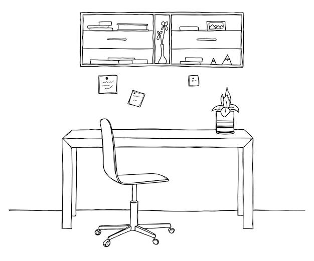 Disegna la stanza. sedia da ufficio, scrivania, vari oggetti sul tavolo. area di lavoro dello schizzo. illustrazione.