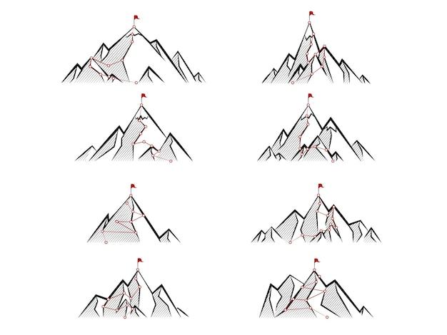 Disegna il percorso verso la cima della montagna. percorso di viaggio d'affari in corso al concetto di successo
