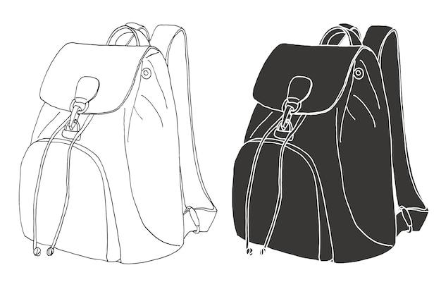 Schizzo di uno zaino. illustrazione di uno stile di schizzo.