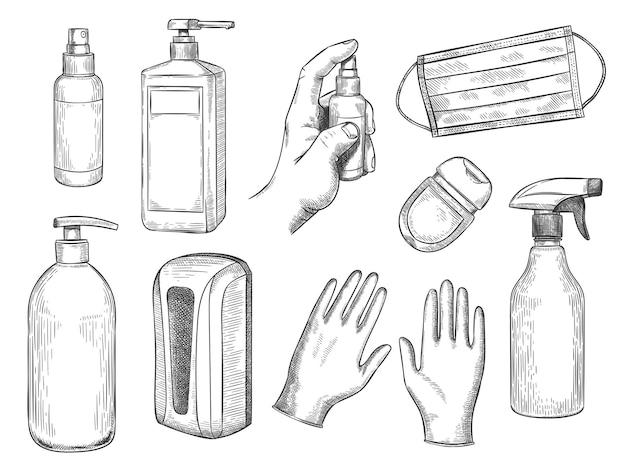 Bottiglietta di disinfettante per schizzi. equipaggiamento per la protezione personale. mascherina medica, guanti, sapone liquido e spray antibatterico. insieme di vettore disegnato a mano dpi. illustrazione bottiglia disinfettante contro virus