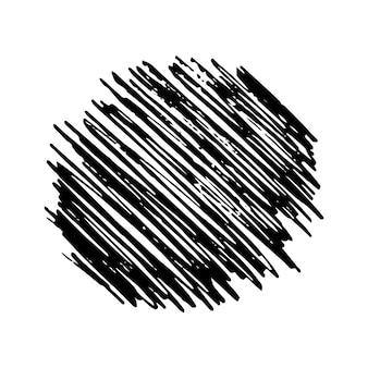 Schizzo scarabocchio striscio. disegno a matita nera a forma di cerchio su sfondo bianco. ottimo design per qualsiasi scopo. illustrazione vettoriale.