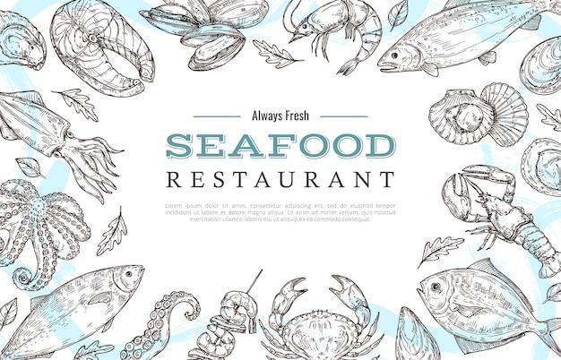Disegna una cornice di frutti di mare con un modello di testo di esempio e un disegno di salmone aragosta granchio pesce