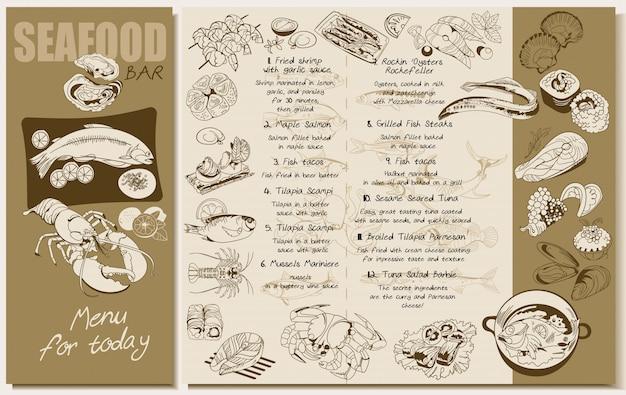 Schizzo modello di menu ristorante di pesce