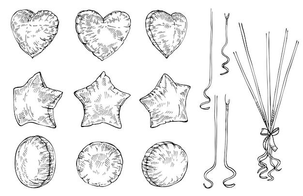 Schizzo set di palloncini disegnati a mano stella cuore inchiostro e palloncino di forma rotonda