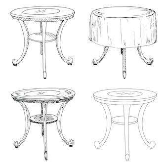 Insieme di abbozzo mobili isolati. tavoli diversi. tavoli neri lineari su uno spazio bianco.