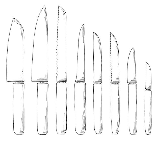 Set di coltelli da cucina di schizzo. illustrazione