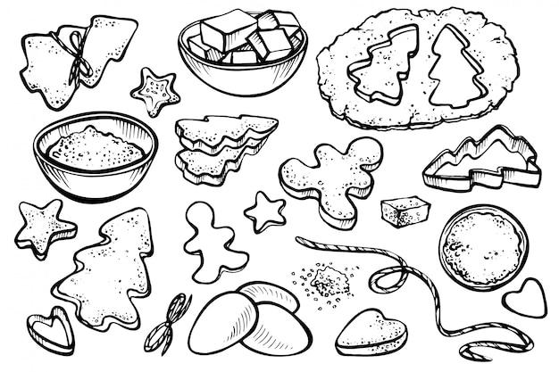 Schizzo impostato con moduli per biscotti e biscotti di natale.