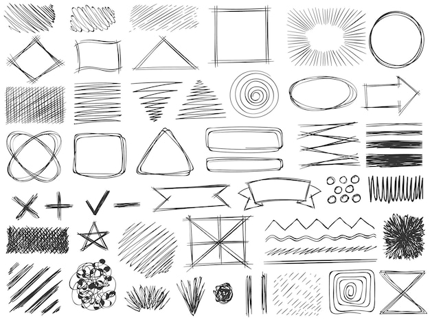 Forme di schizzo. simboli di scarabocchio monocromatici, disegno di cornice a matita, tratto e ombra, set di vettori di forma tonda e quadrata tratteggiata del distintivo ombreggiato. doodle tick, plus e cross, star e arrow