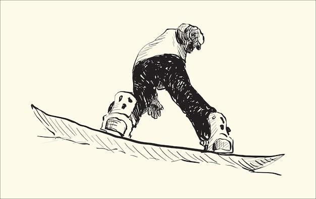 Schizzo di snowboard man riding, winter sport, snowboard collection, free hand draw illustration