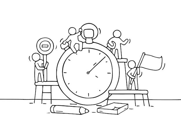 Schizzo del cronometro con piccole persone che lavorano. doodle carino lavoro di squadra in miniatura sulla scadenza. fumetto disegnato a mano per progettazione aziendale e infografica.
