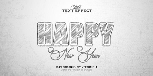 Effetto testo modificabile in stile schizzo, testo happy new year