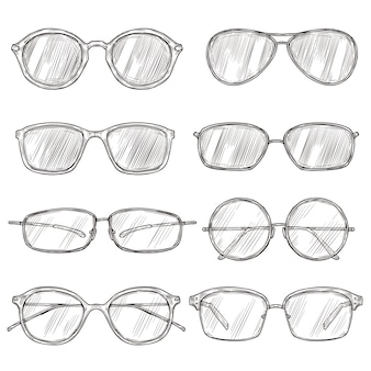 Occhiali da sole sketch. montature per occhiali disegnati a mano, occhiali doodle. occhiali maschili e femminili isolati insieme dell'annata di vettore di moda