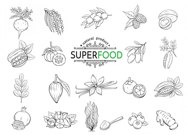 Set di icone di superfood di schizzo