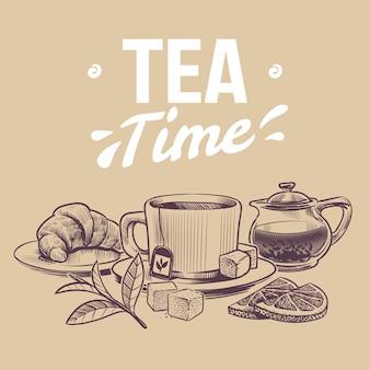 Tè di schizzo, oggetti disegnati a mano per il negozio di tè, tazze e bollitori foglie di tè ed erbe essiccate
