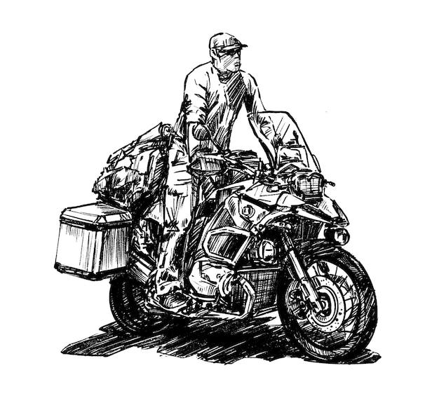 Schizzo di disegnare a mano moto da turismo