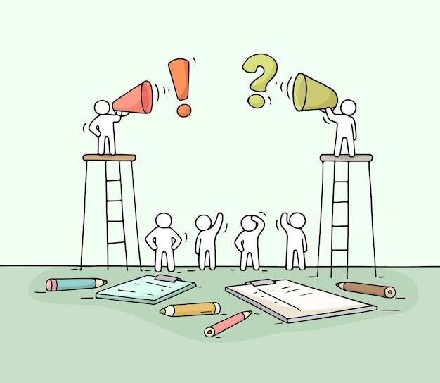 Schizzo di due altoparlanti. doodle carino scena in miniatura di lavoratori con altoparlanti. fumetto disegnato a mano