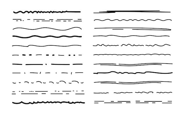 Set di sottolineature di schizzo