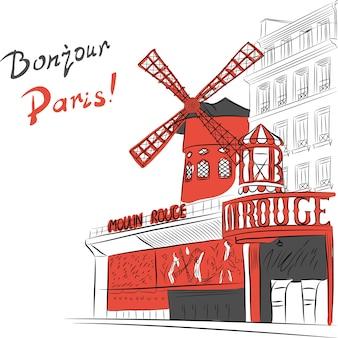 Schizzo del paesaggio urbano con cabaret moulin rouge a parigi