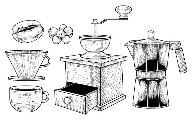 Insieme di vettore di schizzo degli strumenti della caffettiera elementi disegnati a mano delle bacche del chicco di caffè