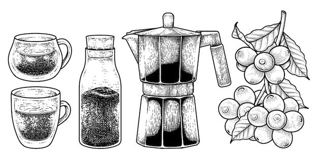 Insieme di vettore di schizzo di elementi disegnati a mano degli strumenti della caffettiera