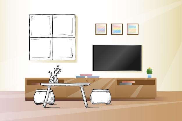 Disegna il muro sotto la tv. illustrazione