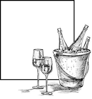 Schizzo di bottiglia di vino, bicchiere di vino rosso. illustrazione vettoriale di schizzo disegnato a mano.