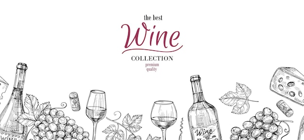 Schizzo di vino. disegno di bevande, uva, bordo senza giunte di bottiglie. banner alcolico con bicchieri e formaggio, priorità bassa di vettore della cantina. illustrazione di schizzo, bottiglia e raccolto del disegno della bevanda del vino