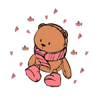 Disegna con un orsacchiotto per una cartolina per bambini o per negozi per bambini. illustrazione vettoriale. Vettore Premium