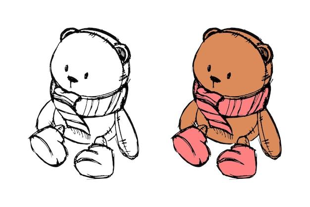 Disegna con un orsacchiotto per una cartolina per bambini o per negozi per bambini. illustrazione vettoriale.