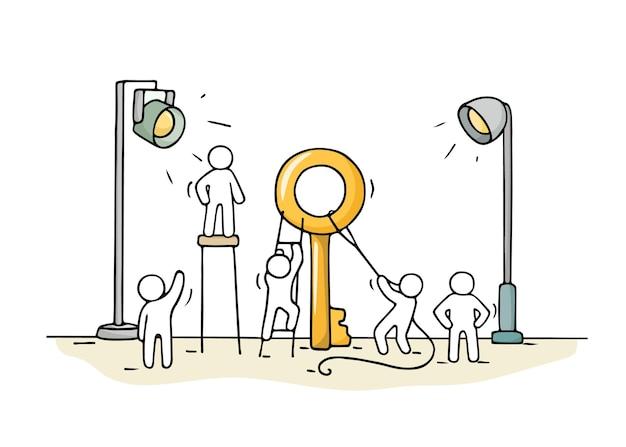 Schizzo di piccole persone che lavorano con una grande chiave.